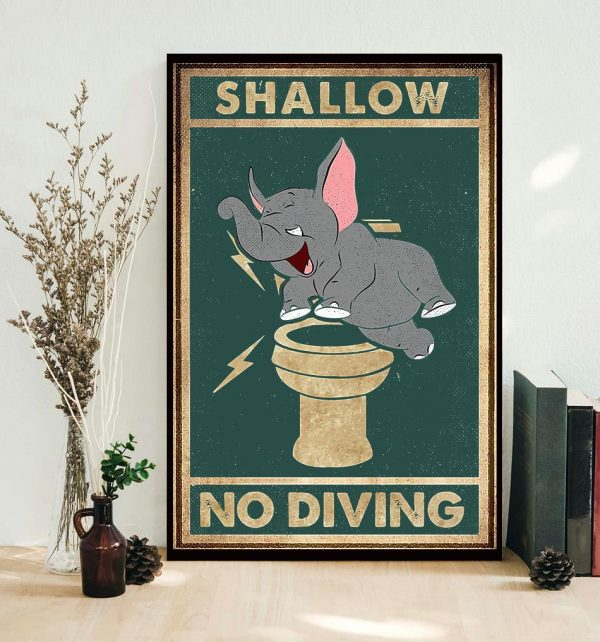 Elephant shallow no diving vertical poster