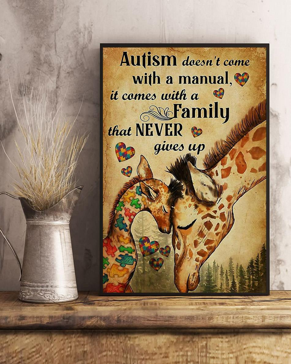 Giraffe autism comes with a family that never give up poster art