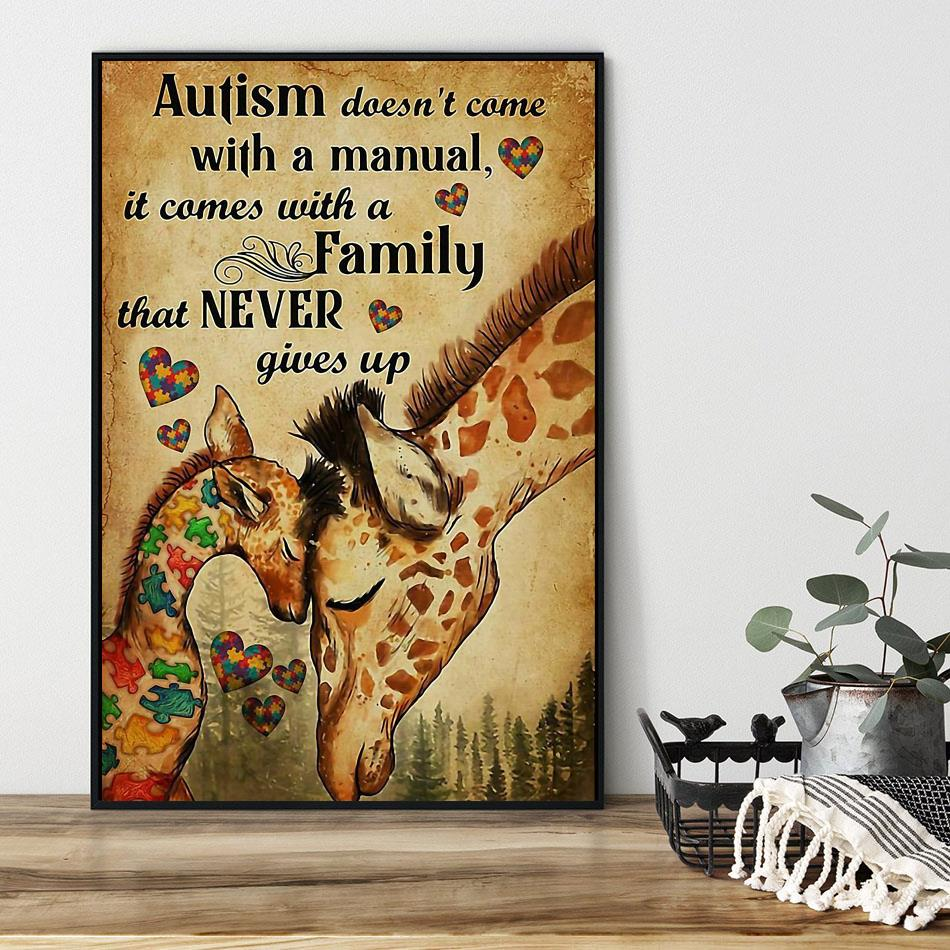 Giraffe autism comes with a family that never give up poster black