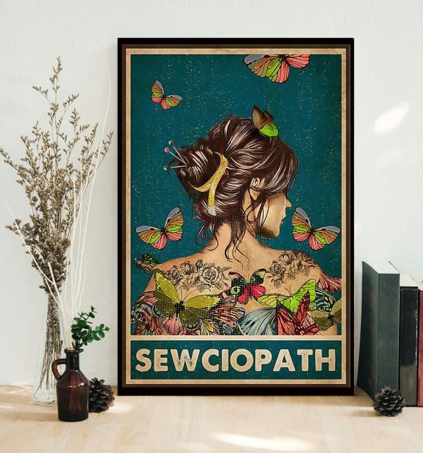Girl butterfly sewciopath sewing poster