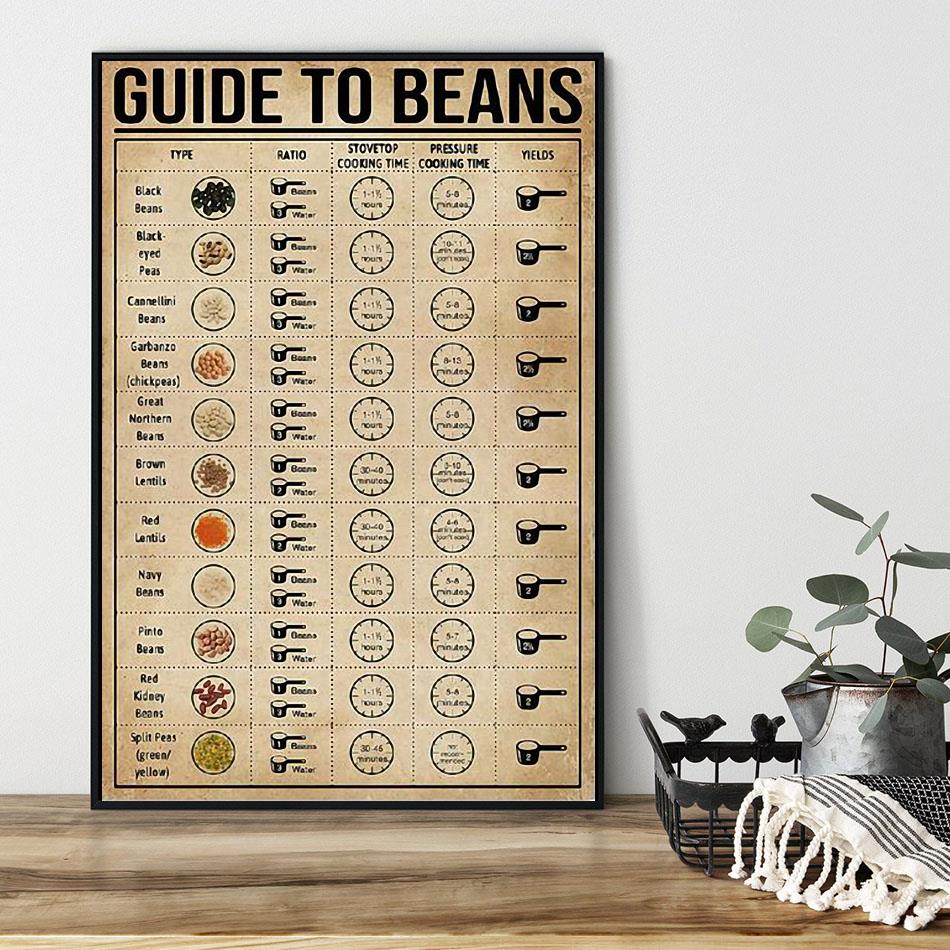 Guide To Beans poster canvas black