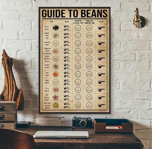 Guide To Beans poster canvas wall art