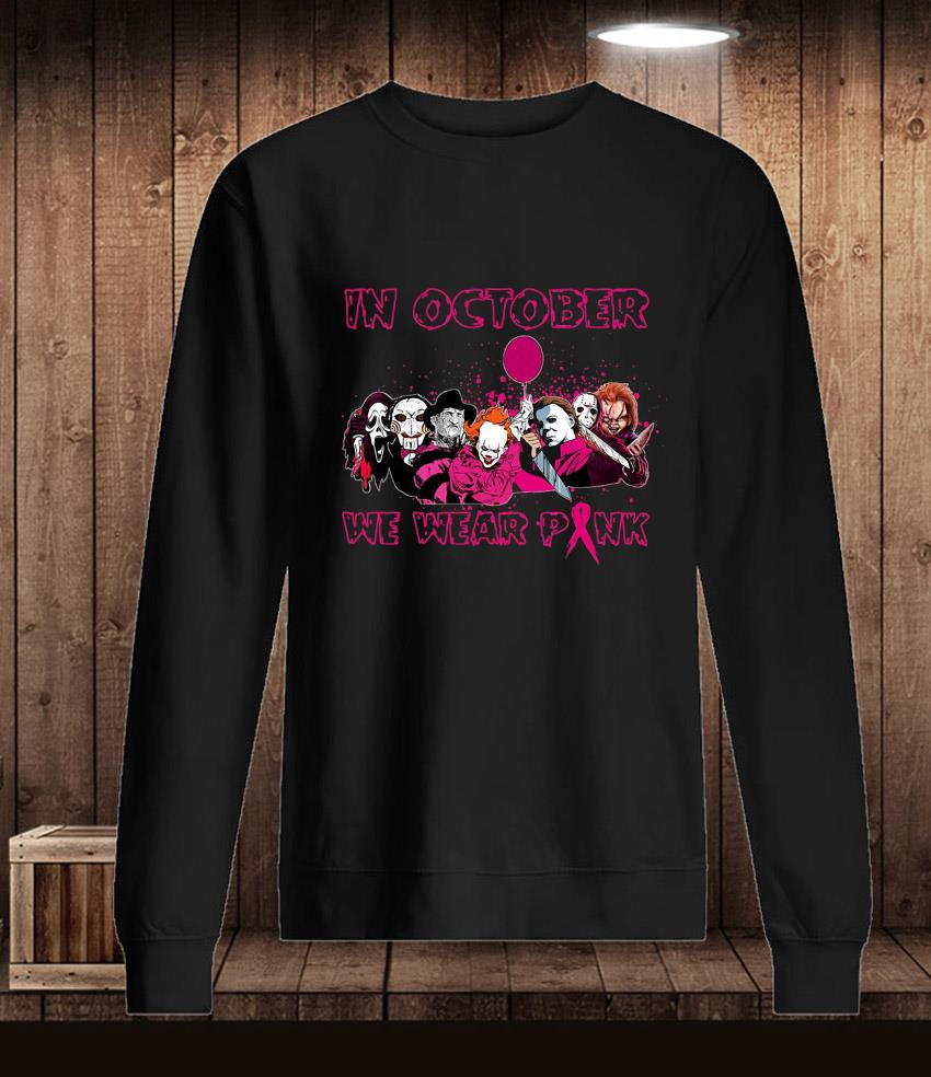 Horror Characters in october we wear pink breast cancer t-s Longsleeve