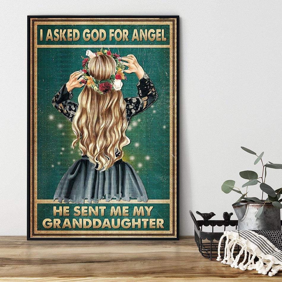 I asked god for an angel and he sent me my daughter poster black