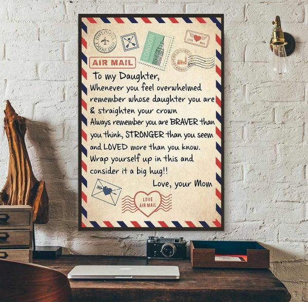 Letter poster to my daughter whenever you feel overwhelmed remember whose daughter wall art