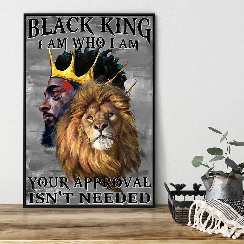 Lion black king I am who I am vertical poster black