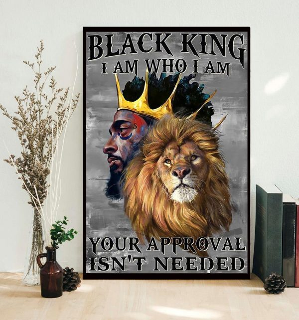 Lion black king I am who I am vertical poster