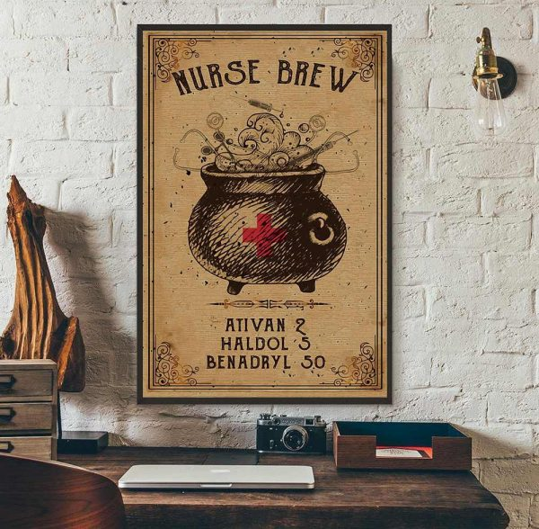 Nurse brew ativan haldol benadryl poster canvas wall art