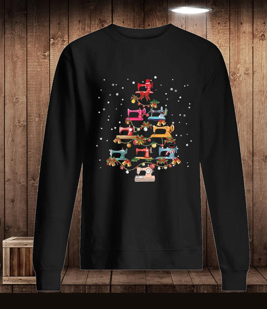 Sewing machine christmas tree quilting t-s Longsleeve