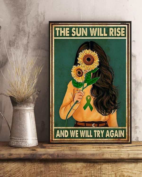 Sunflower girl the sun will rise and we will try again poster art