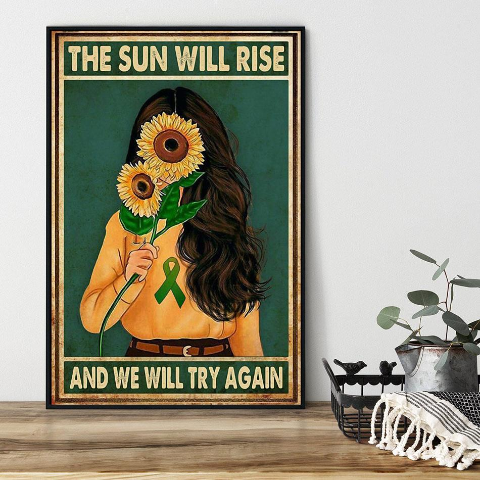 Sunflower girl the sun will rise and we will try again poster black