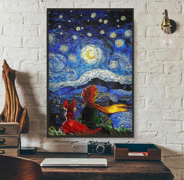 The Little Prince Starry Night portrait canvas