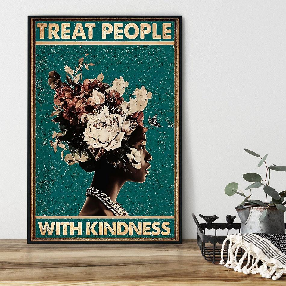Treat people with kindness poster black