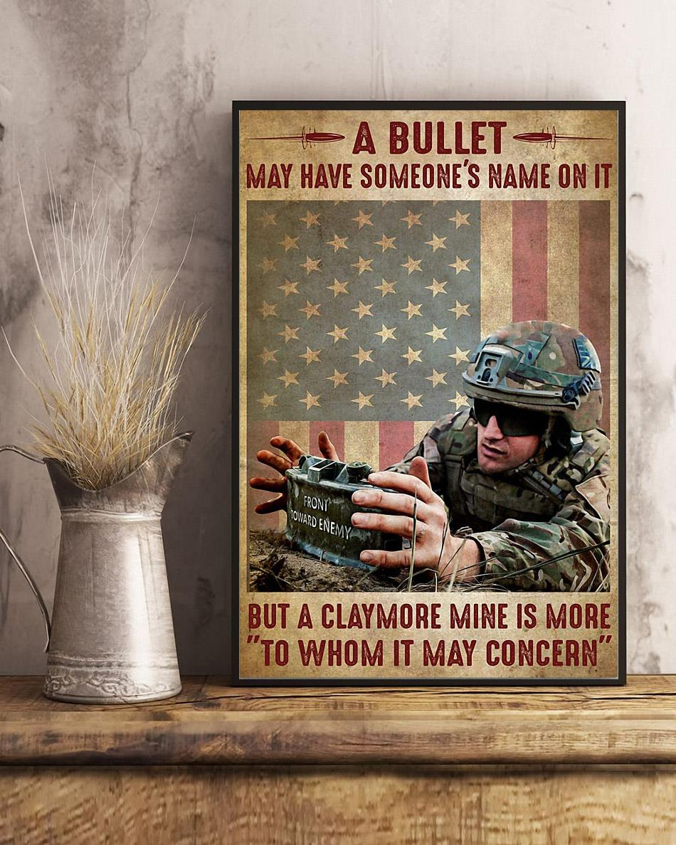 A bullet may have someone's name on it but a claymore mine is more to whom it may concern poster art