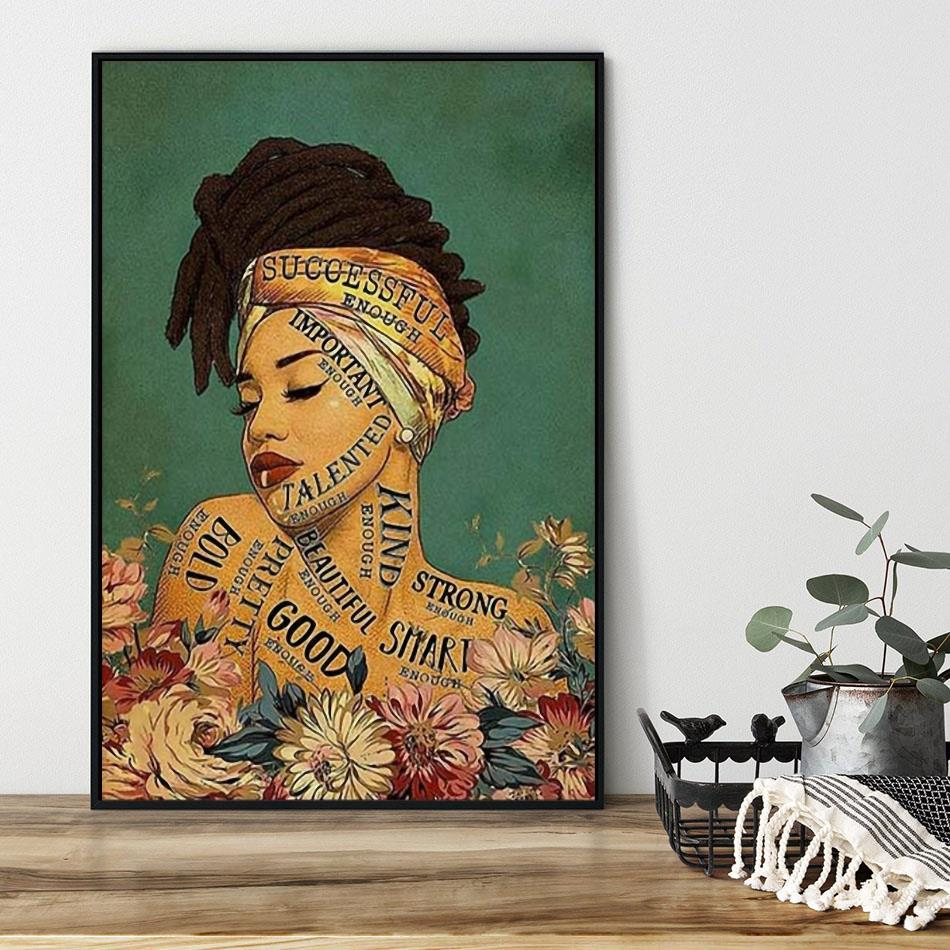 African girl lose your mind find your soul canvas black