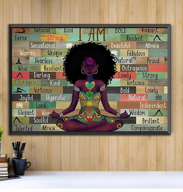 Afro Girl I Am Namaste Yoga horizontal canvas Black canvas