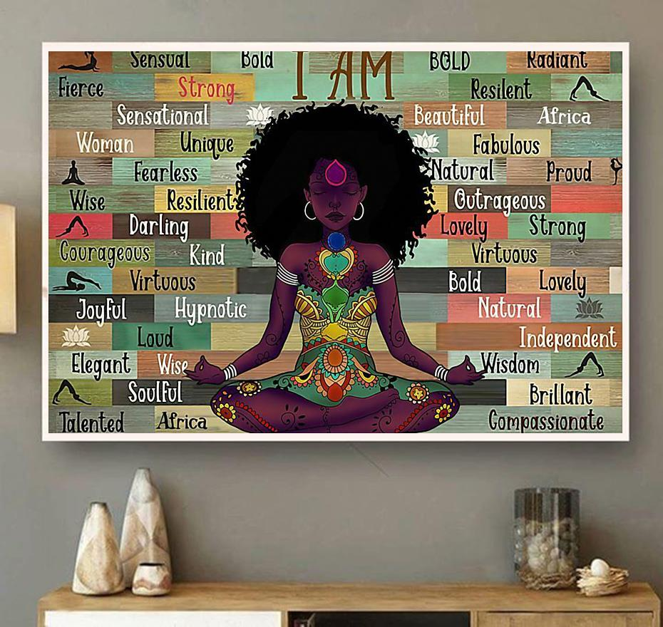 Afro Girl I Am Namaste Yoga horizontal canvas wall art