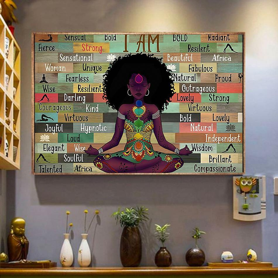 Afro Girl I Am Namaste Yoga horizontal canvas wrapped canvas