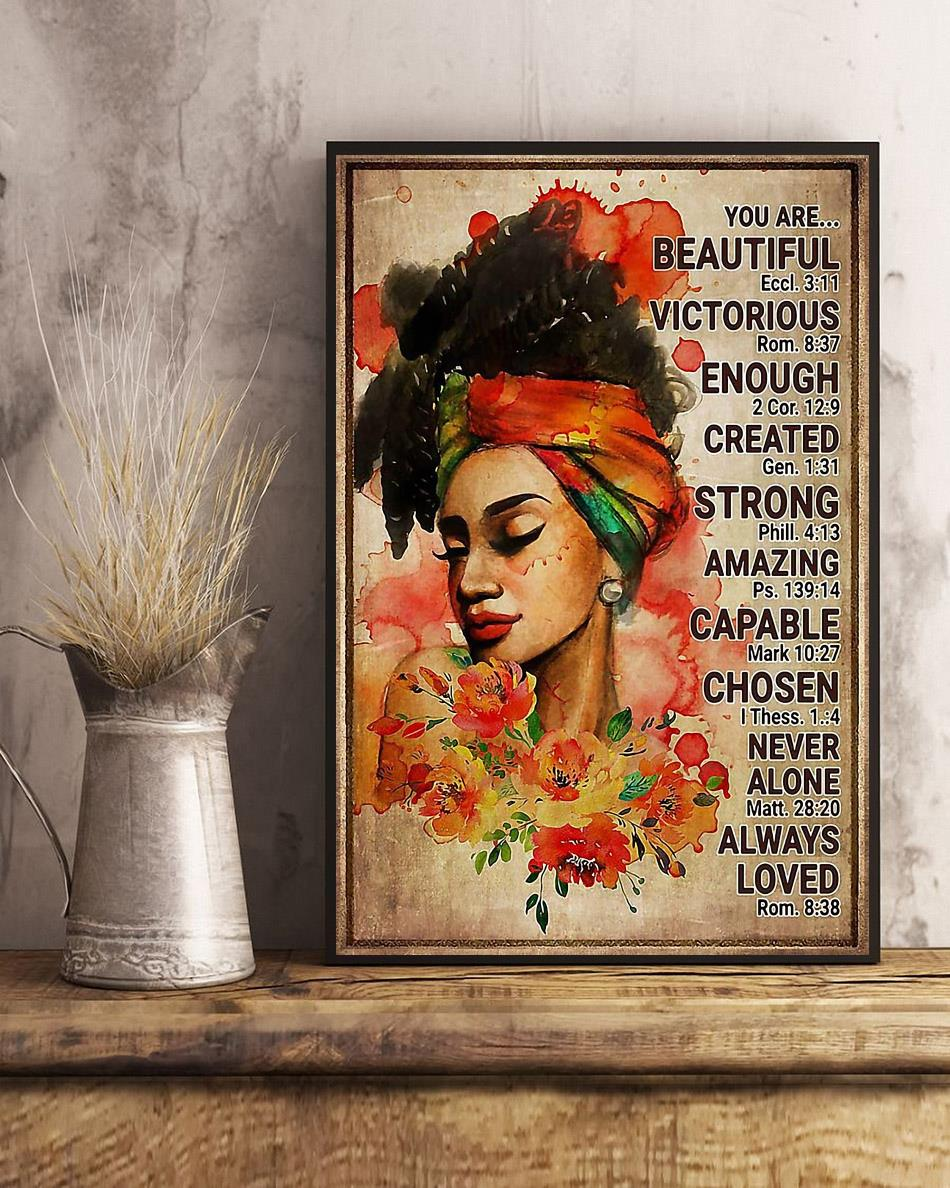 Afro girl you are beautiful victorious poster canvas art
