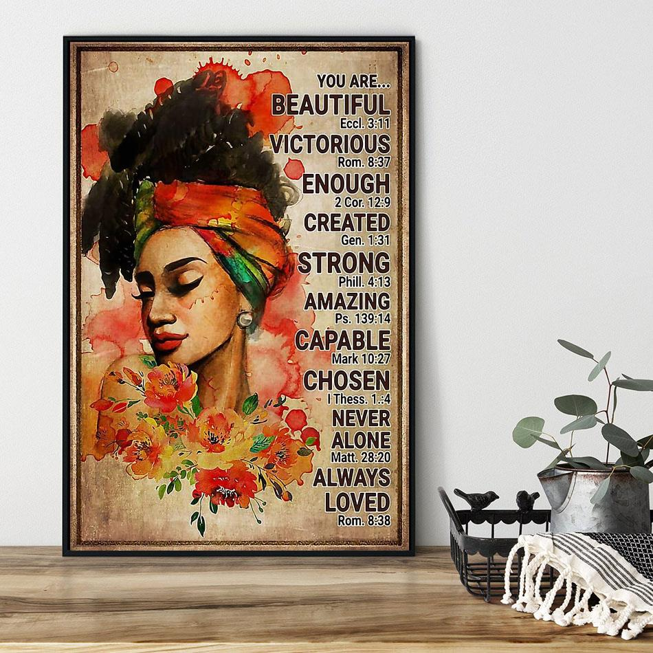 Afro girl you are beautiful victorious poster canvas black