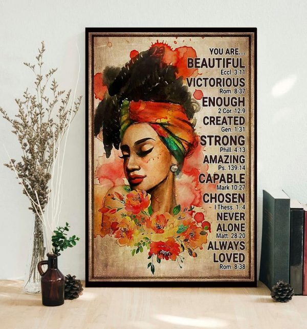 Afro girl you are beautiful victorious poster canvas
