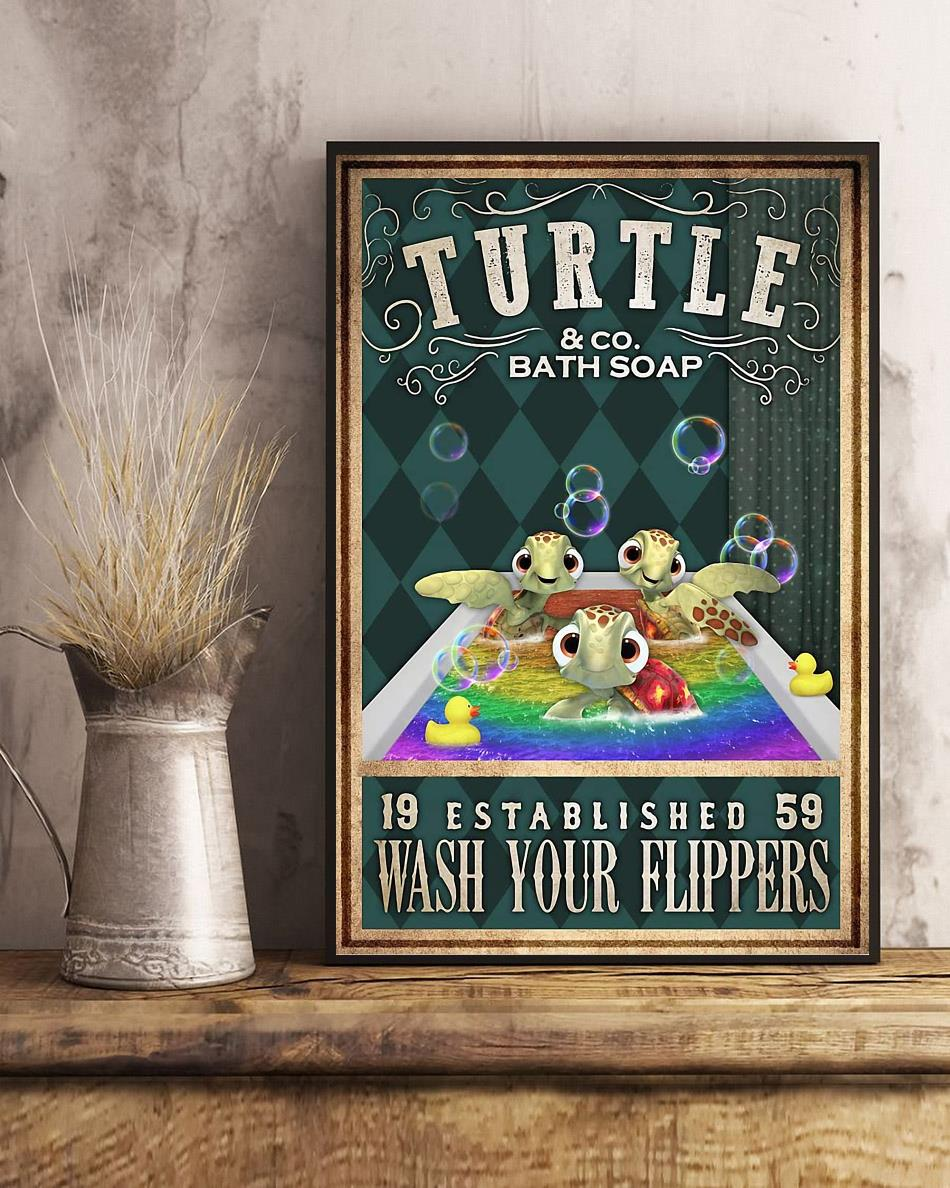 Baby Turtle wash your flippers poster art