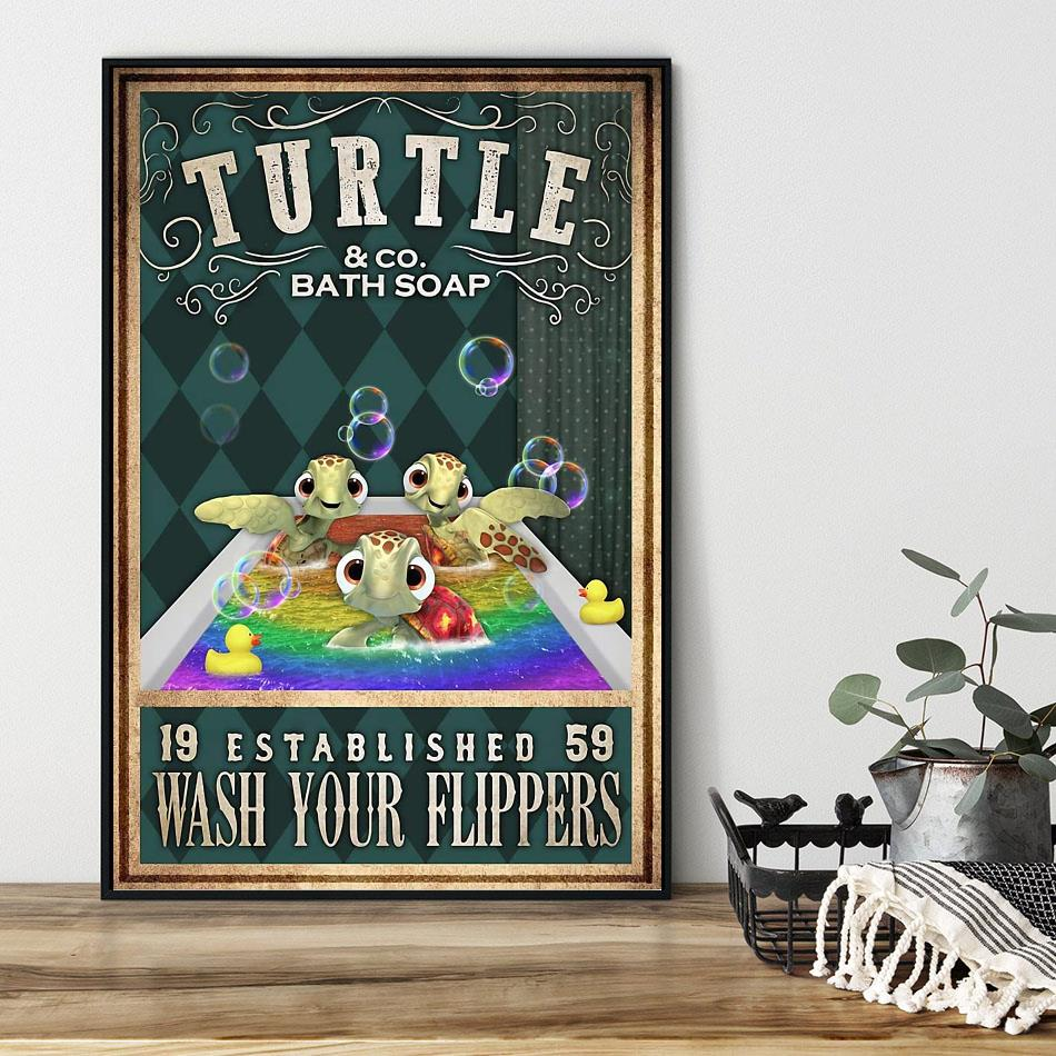 Baby Turtle wash your flippers poster black