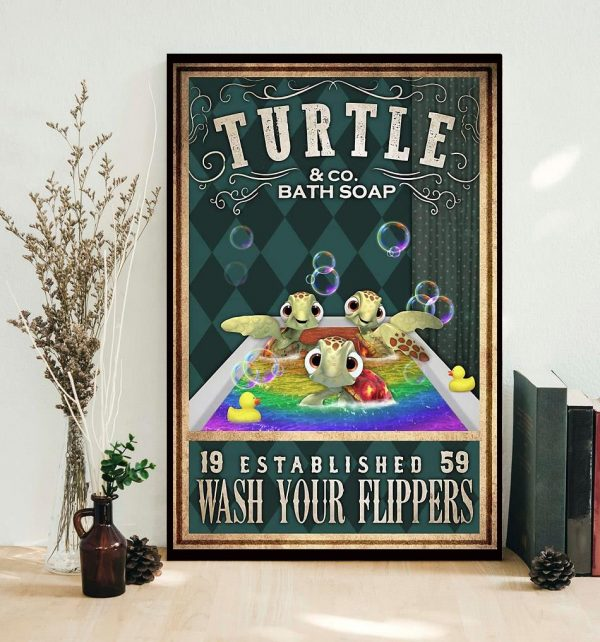 Baby Turtle wash your flippers poster
