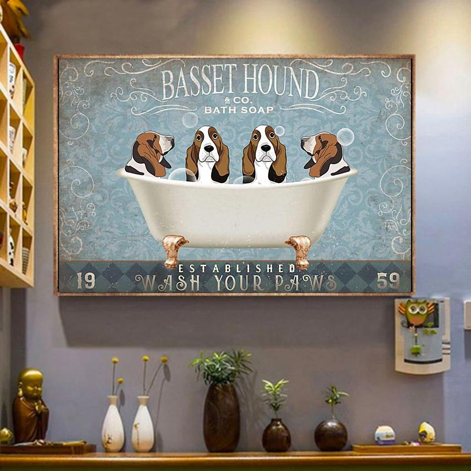Basset Hound bath soap wash your paws horizontal canvas wrapped canvas