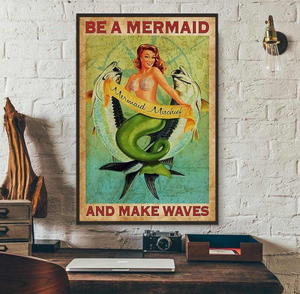 Be a Mermaid and make waves vertical canvas wall art