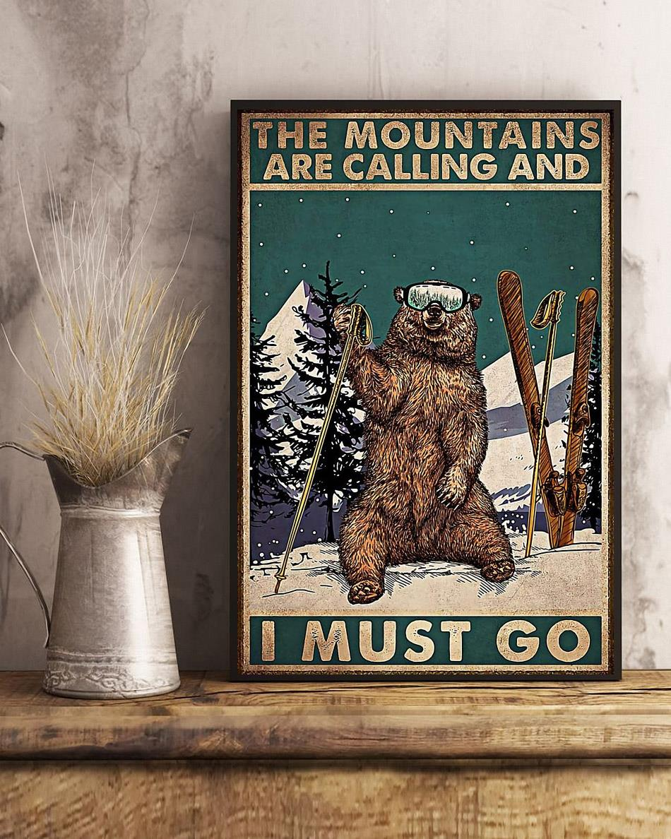 Bear hiking the mountain is calling I must go poster art