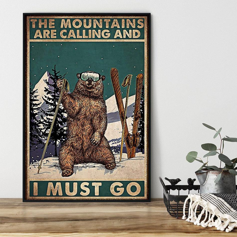 Bear hiking the mountain is calling I must go poster black