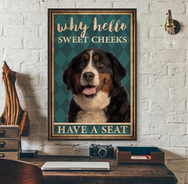 Bernese Mountain why hello sweet cheeks have a seat poster wall art
