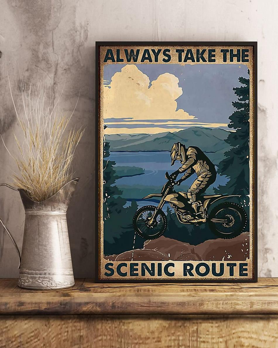Biker always take the scenic route vertical poster art