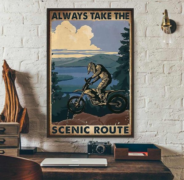 Biker always take the scenic route vertical poster wall art