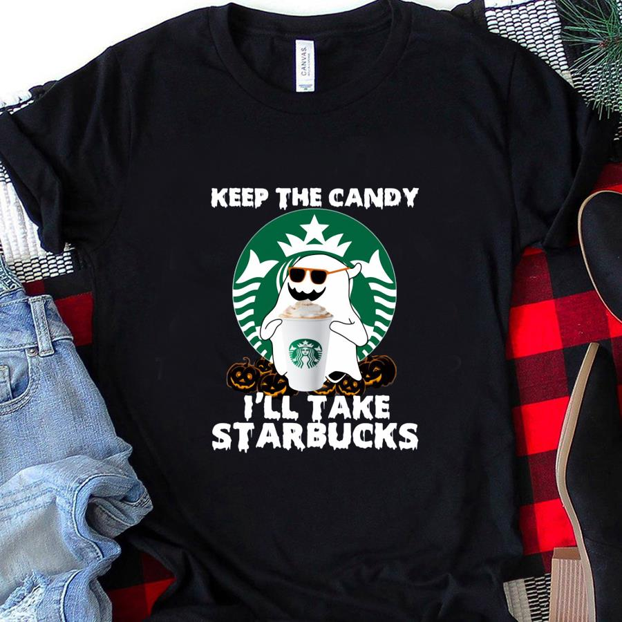 Boo ghost keep the candy I'll take Starbucks t-s unisex