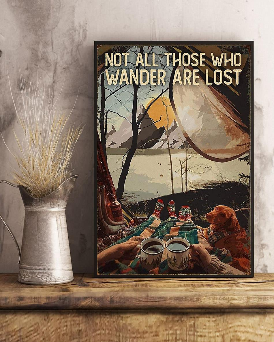 Camping Dog girl not all those who wander are lost poster art