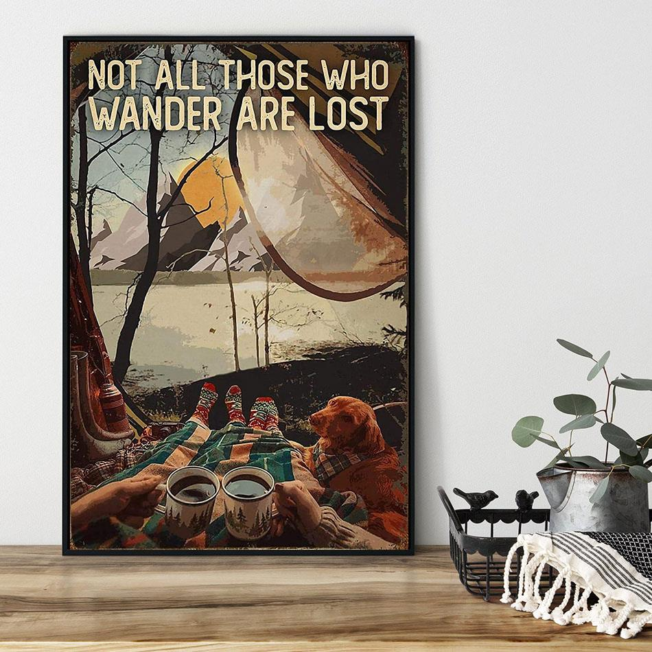 Camping Dog girl not all those who wander are lost poster black