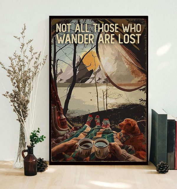Camping Dog girl not all those who wander are lost poster