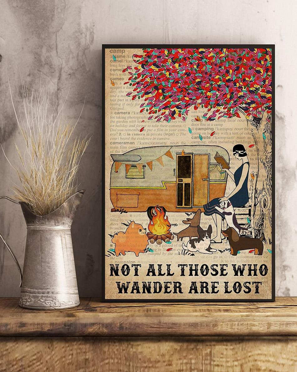 Camping girl not all those who wander are lost poster art