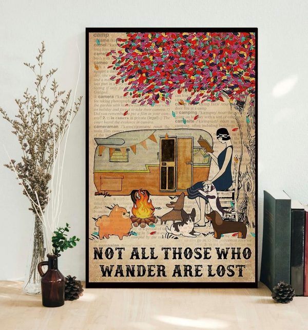 Camping girl not all those who wander are lost poster