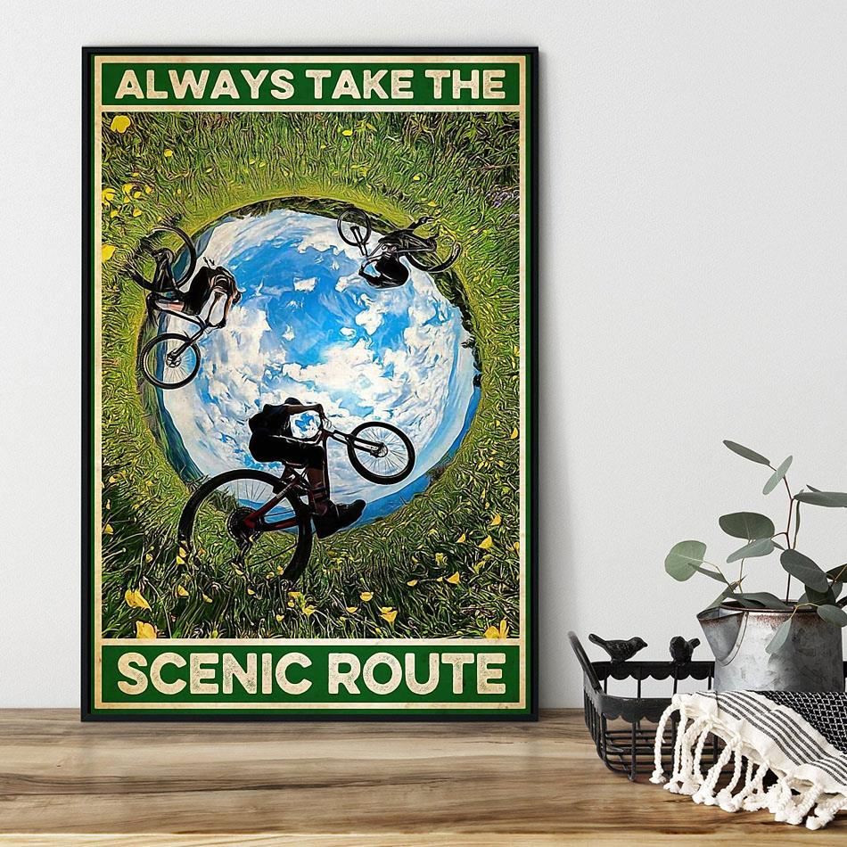 Cycling always take the scenic route poster black