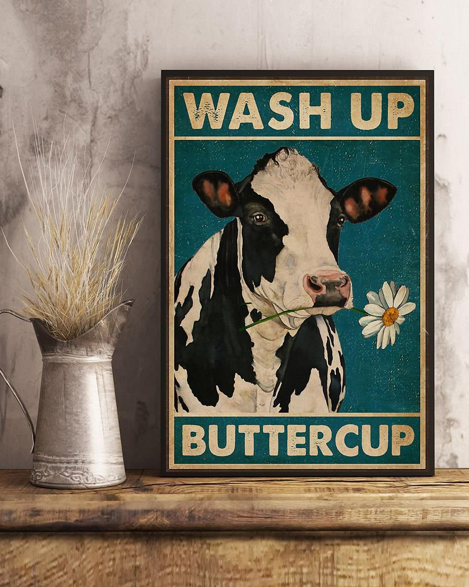 Dairy cattle wash up buttercup canvas art