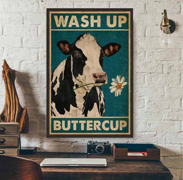 Dairy cattle wash up buttercup canvas wall art