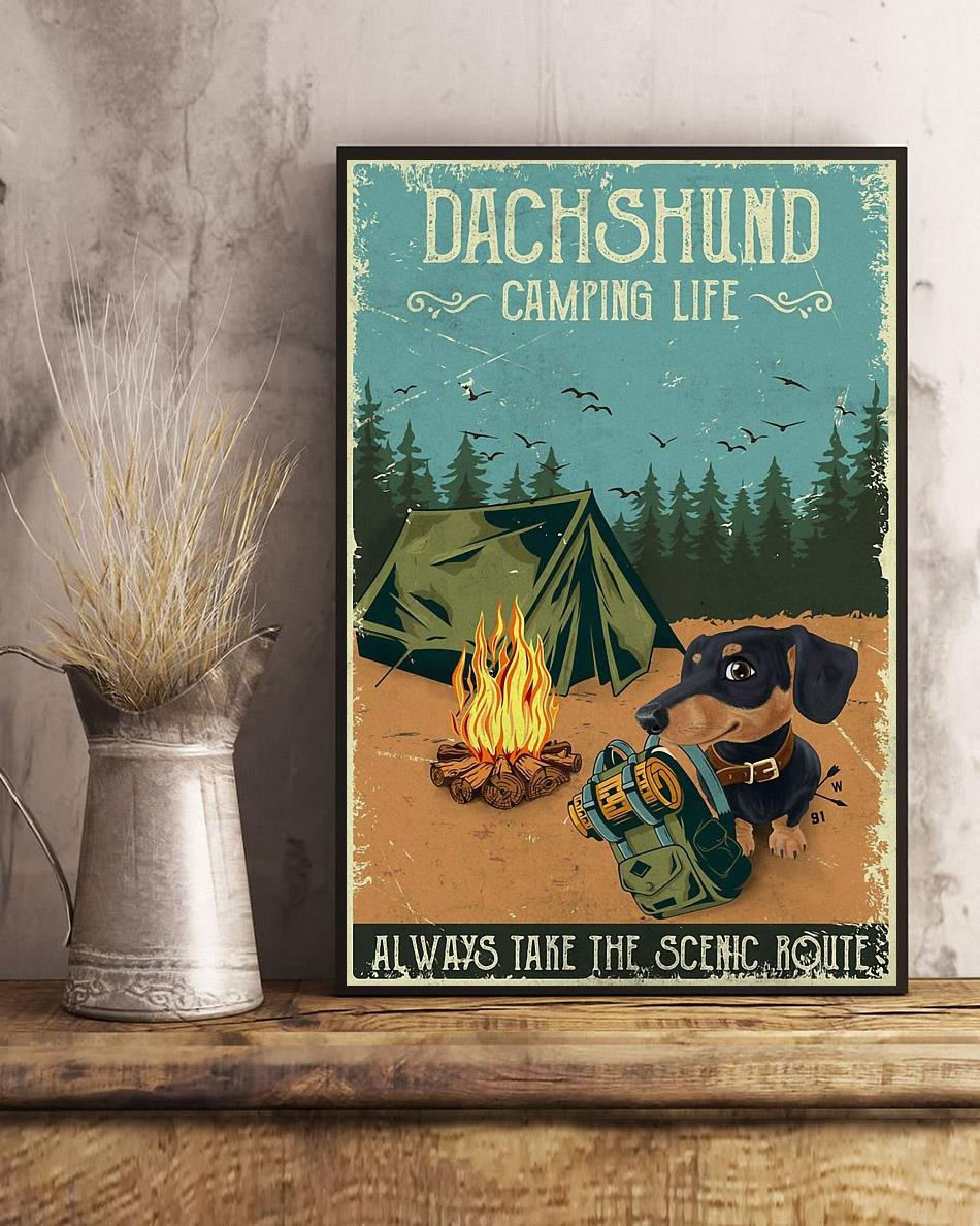 Dashshund Camping always take the scenic route vertical poster art