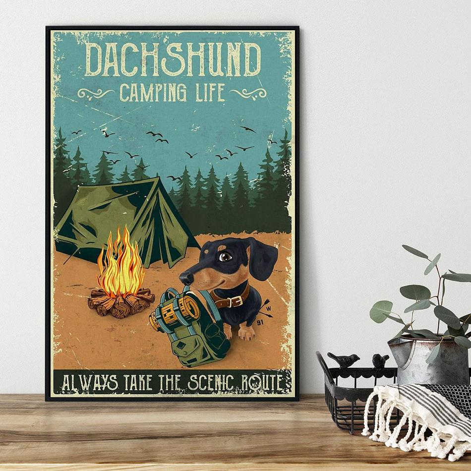 Dashshund Camping always take the scenic route vertical poster black