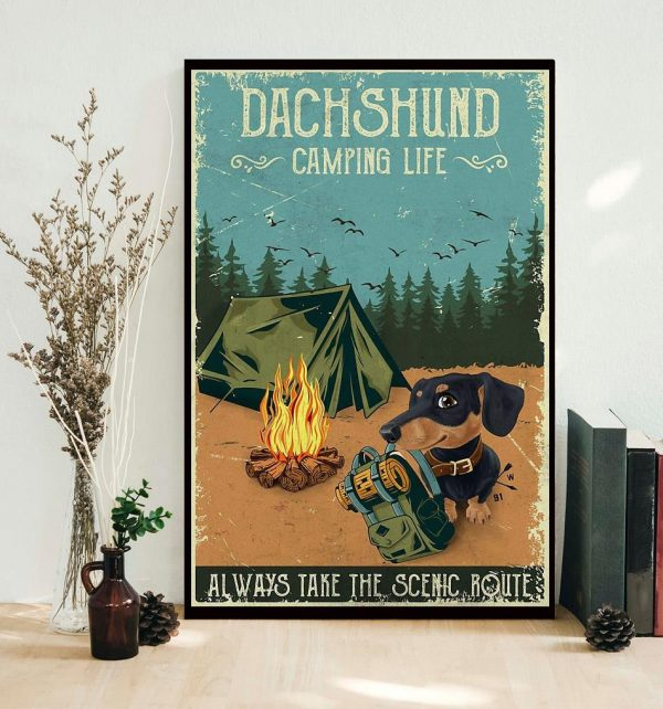 Dashshund Camping always take the scenic route vertical poster