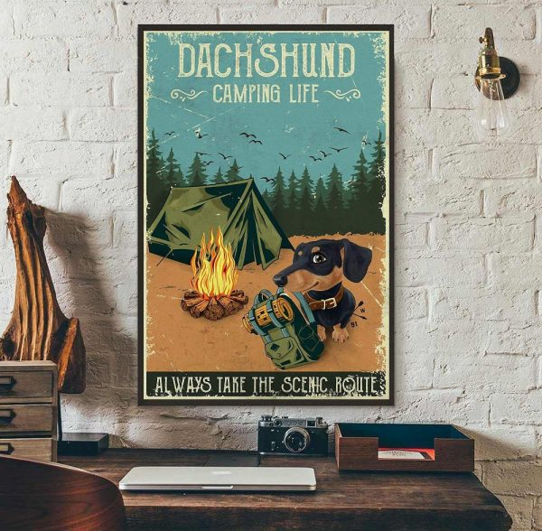 Dashshund Camping always take the scenic route vertical poster wall art