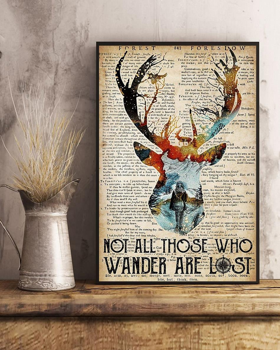 Deer camping not all those who wander are lost poster art