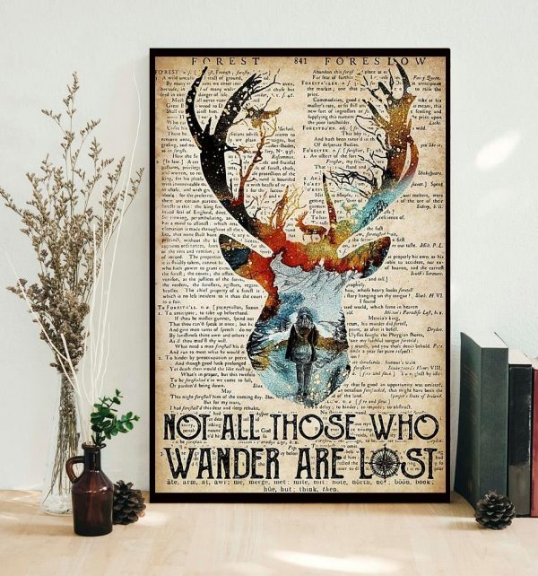 Deer camping not all those who wander are lost poster
